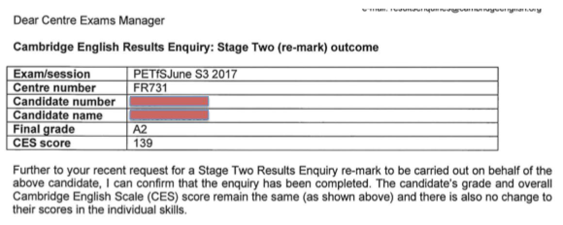 Re-correction examen Cambridge